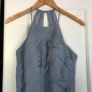 Azazie ginger dusty blue bridesmaid dress